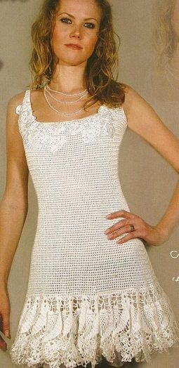 I love the combination of the filet crochet detail at the neck, the simple body, and the detailed, lacy hem/skirt.