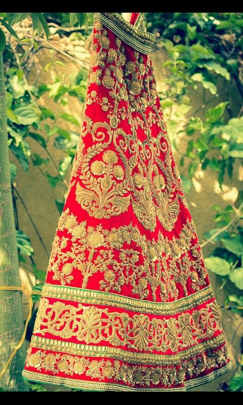 Classic Red Bridal Lehenga with Gold Embroidery #lehenga #red #bridal #gold #embroidery #gorgeous #wedmegood