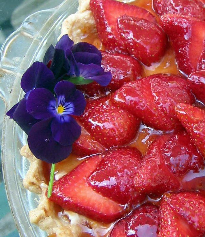 Image of Fresh Strawberry Cream Cheese Pie with Almond Crust