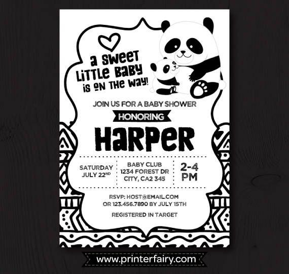 Panda Baby Shower Panda Baby Shower Invitation Gender