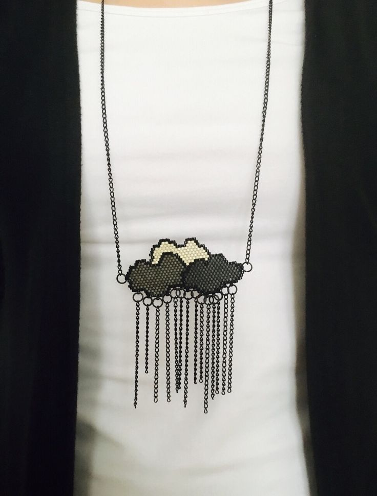 Miyuki clouds necklace handmade jewelery instagram atolye_nazo