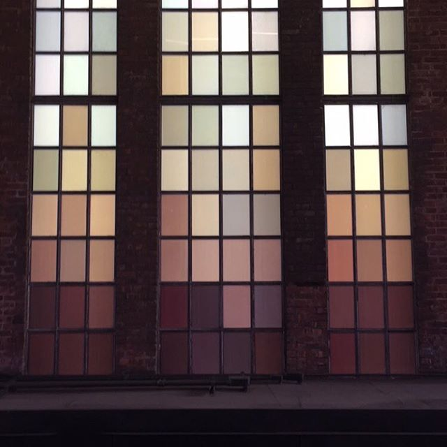Colors of the Hudson stained glass on the High Line
