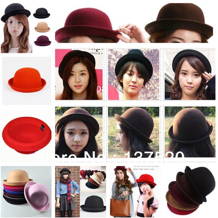 Многоцветный винтажный ретро зима шляпы для женщины дамы девочки шерсть рулон краев купол боулер дерби шляпа кепка мягкие фетровые шляпы