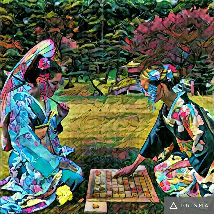 Shogi playing in a garden (Geisha beauty).