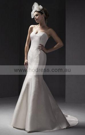 Sleeveless Buttons Satin Sweetheart A-line Wedding Dresses gccf1034--Hodress