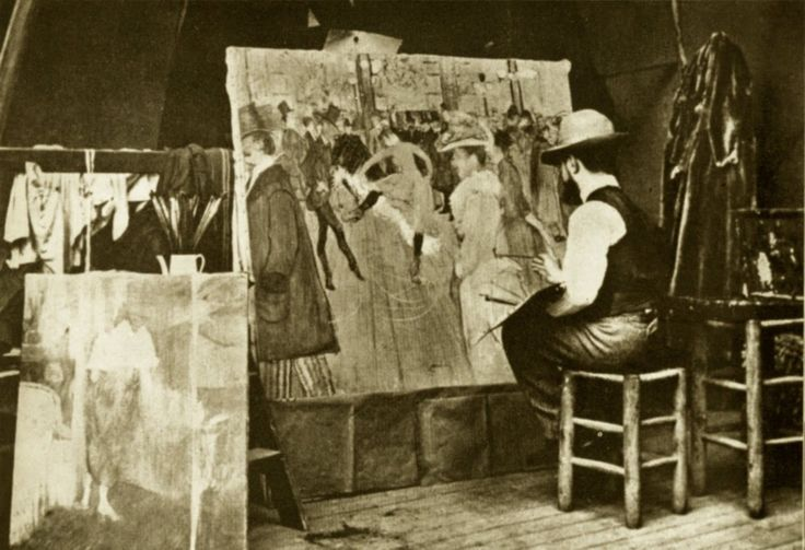 Artist Henri de Toulouse-Lautrec painting At the Moulin Rouge (1890)