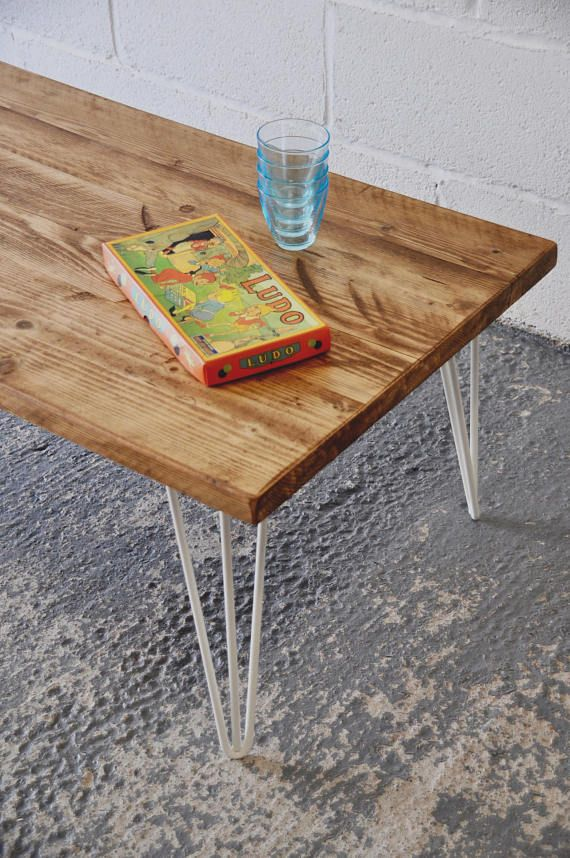 Industrial Coffee Table Reclaimed Wood Rustic Vintage Scaffold Wood Table Rustic Furniture COLOURED Steel Hairpin legs Bespoke Table