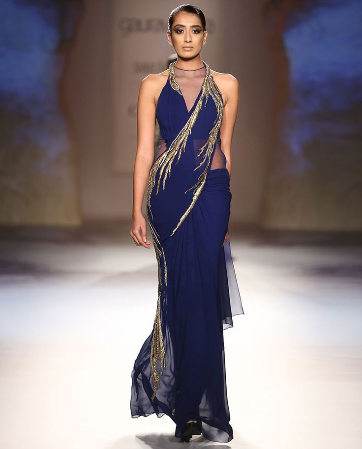 Midnight Blue Sari Gown with Golden Embellishments