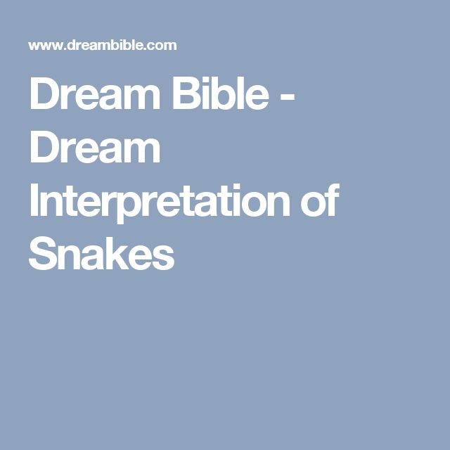 Dream Bible - Dream Interpretation of Snakes
