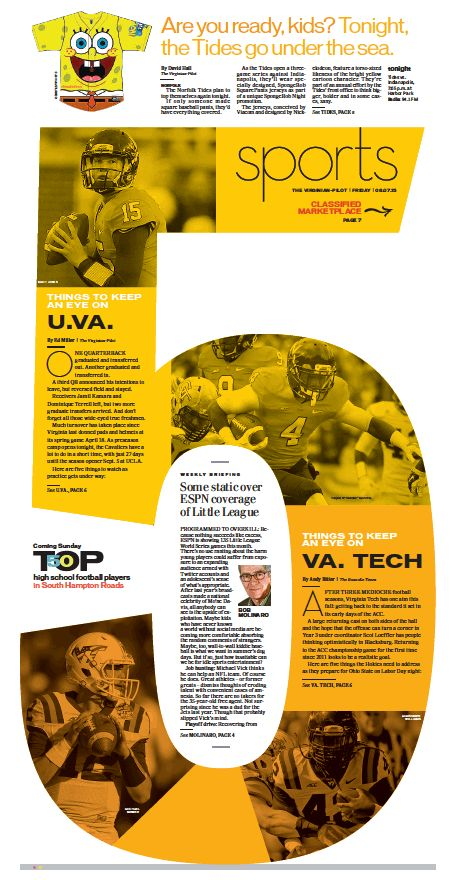 This layout is a very fun idea. Figuring out how to turn it into a tabloid would be the challenge but would a nice idea with football season or even college basketball.