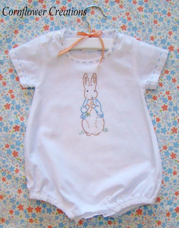 Benjamin Bunny - Hand Embroidered Vintage Style Linen Romper (Made to Order Any Size) via Etsy