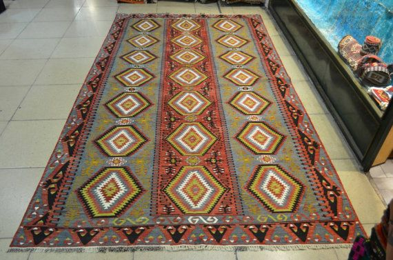 10.8 by 5.9 feet. Free shipping. Old Turkish handmade kilim.