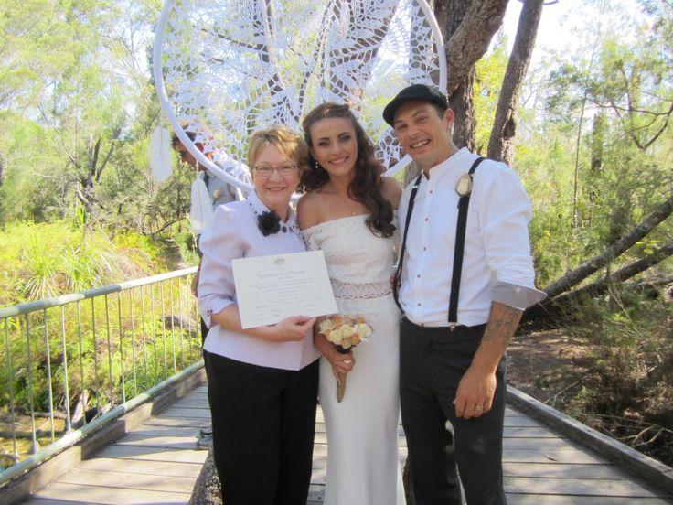 David and Emma married beside beautiful Seary's Creek near Rainbow Beach.