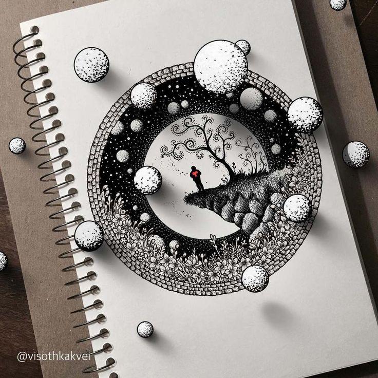 Une sélection des magnifiques illustrations de l'américainVisothkakvei, qui augmente ses doodles complexes et délicats avec de jolis effets de profondeur e
