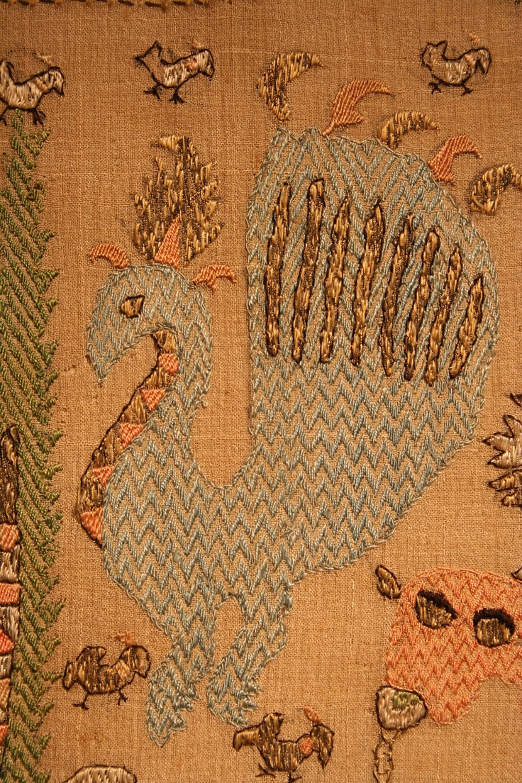 Detail (a peacock) of a Greek embroidery, 19th century.