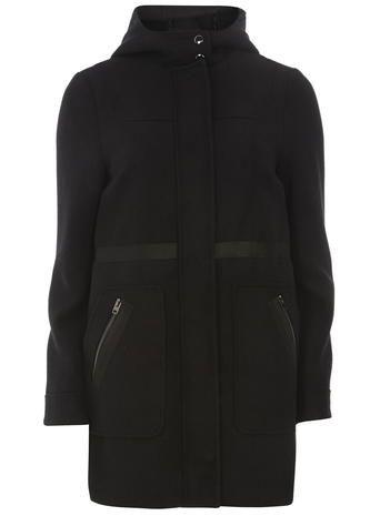 Black Bonded Duffle Coat DP