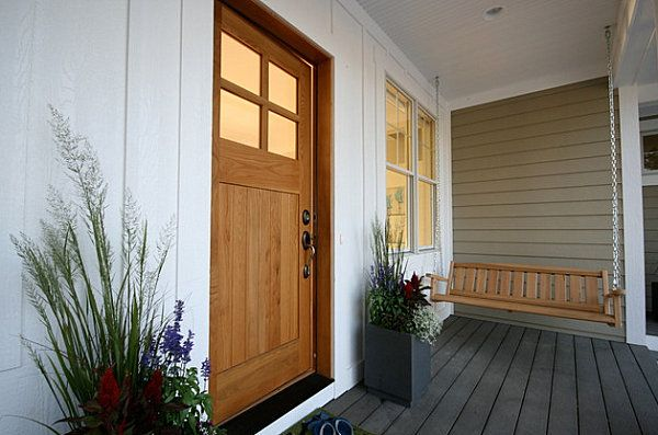 Modern planters on a Craftsman porch - I will totally take a porch swing. Never had one but when I am 60... sure thing.