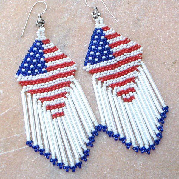 AMERICAN PATRIOTIC  RED BLUE WHITE FLAG BEADED HANDMADE LONG EARRINGS E15/57…