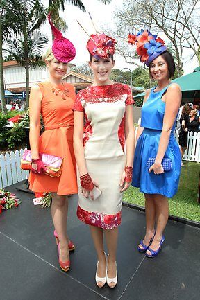 Fashion winners | Melbourne Cup day at Eagle Farm | The Courier-Mail. Love the blue for hiding my bump!