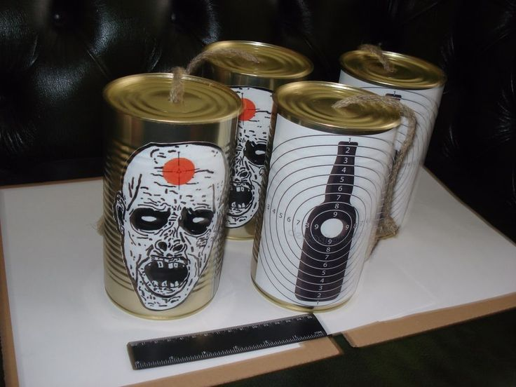 Empty Metal Tin Cans Shooting Targets practice zombie apocalypse LOT 4pc