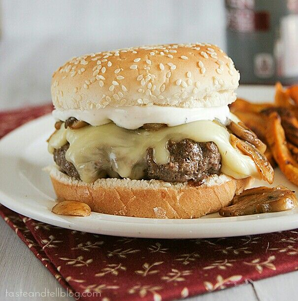 ~Worcestershire Burgers with Gouda, Mushrooms and Ranch Dressing~ Prep Time: 15 minutes Cook Time: 15 minutes Total Time: 30 minutes Yield: 4 servings **INGREDIENTS** 1 1/2 pounds ground beef chuck~ 1/4 cup worcestershire sauce~ 3 tablespoons grated onion~ 1 tablespoon vegetable oil~ 4 slices Gouda~ 3 tablespoons butter~ 1 pound white mushrooms, sliced~ 1/4 cup chopped onion~ 1/3 cup dry sherry or beef broth~ 1/2 cup sour cream~ 2-3 tablespoons buttermilk~ 1/8 cup finely chopped dill…