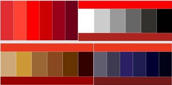 Таблица сочетания цвета бордо