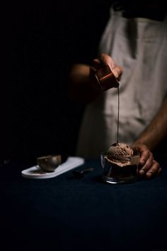 double chocolate ice cream with chocolate bourbon fudge sauce   A Brown Table