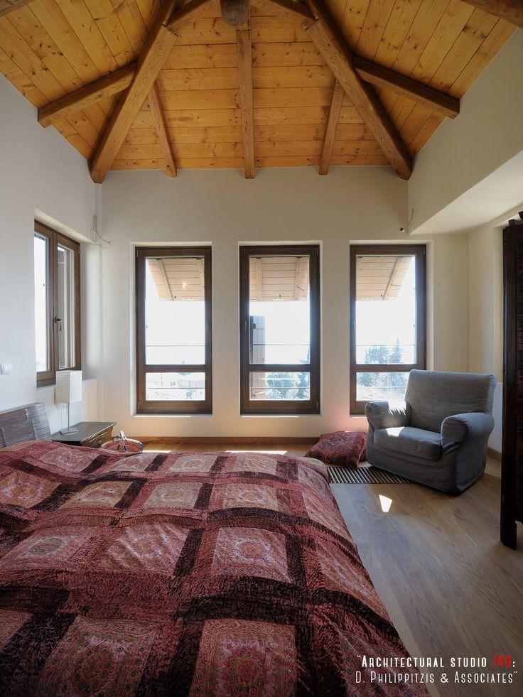 Bedrooms _ interior design | stone house | Pelion | wooden roof | window _ visit us at: www.philippitzis.gr