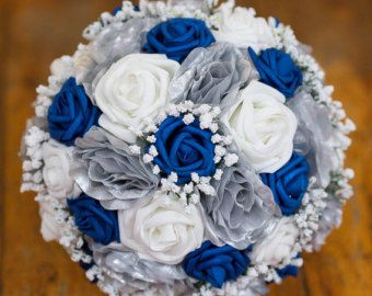 Royal blue and silver wedding bouquet silk artificial flowers. Custom made in Vermont