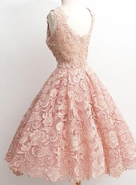 Peach Lace Scoop Neckline Short Cute homecoming prom dresses, CM0009
