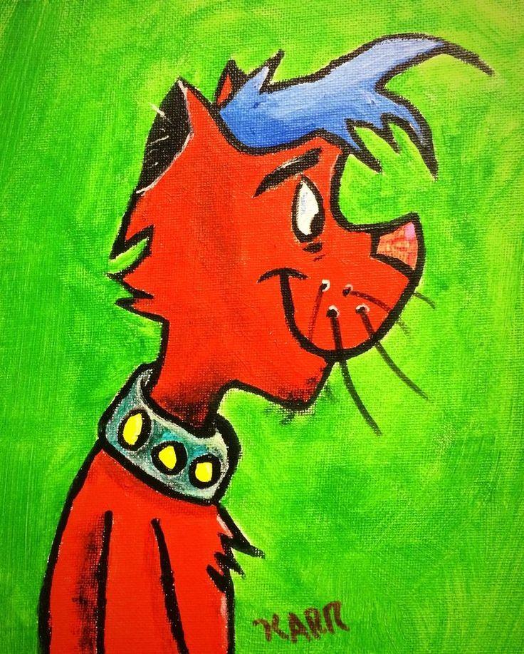 ORIGINAL ACRYLIC PAINTING ON PANEL THE CAT CARTOON ARTWORK 6X8 ARTWORK! #IllustrationArt