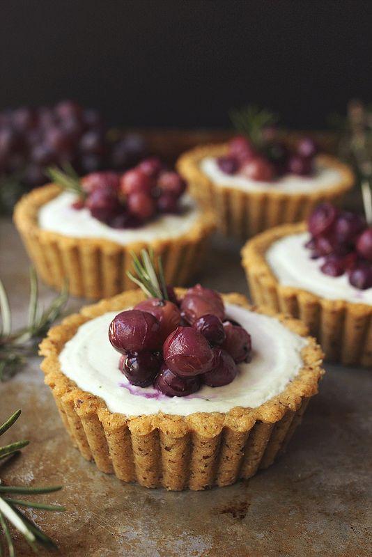 Roasted Grape and Rosemary Savory Goat Cheese Mini Tarts {Grain-Free} - Tasty Yummies
