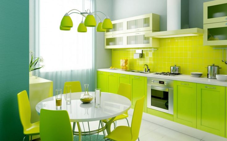 Furniture, Round White Lacquered Kitchen Dining Table Green Kitchen Dining Chairs Green Subway Tile Backsplash Green Wall Cabinet With Frosted Glass Door Green Laminate Cabinet With White Quartz Top Chandelier With Green Lamp Shades: Factors to Think About When Buying a Kitchen Dining Table