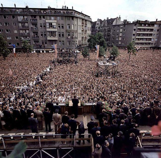 """JFK giving his famous """"Ich bin ein Berliner"""" speech in Berlin, Germany -- June 26, 1963"""