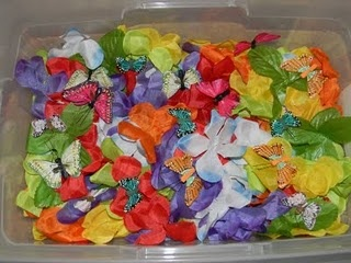 Another spring sensory bin! Hawain lays taken apart, butterflies, magnifying glass for a closer look. Love it!