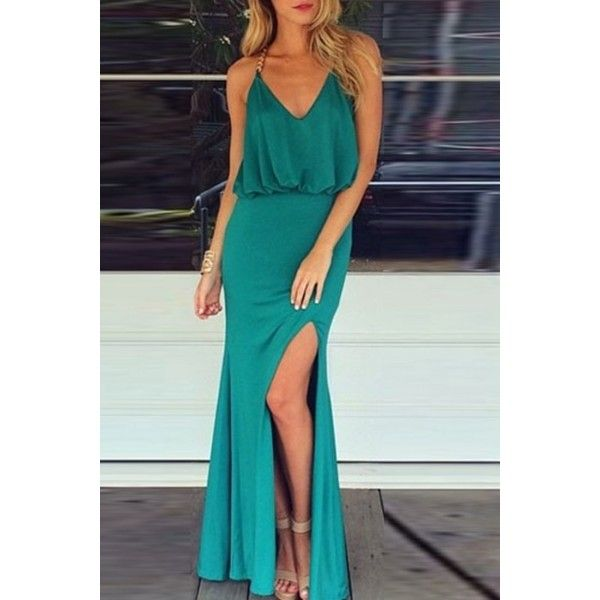 Gold Chain Halter Maxi Dress With T Back ($18) ❤ liked on Polyvore featuring dresses, turquoise, high slit maxi dress, gold dress, blue maxi dress, sexy blue dresses and blue party dress