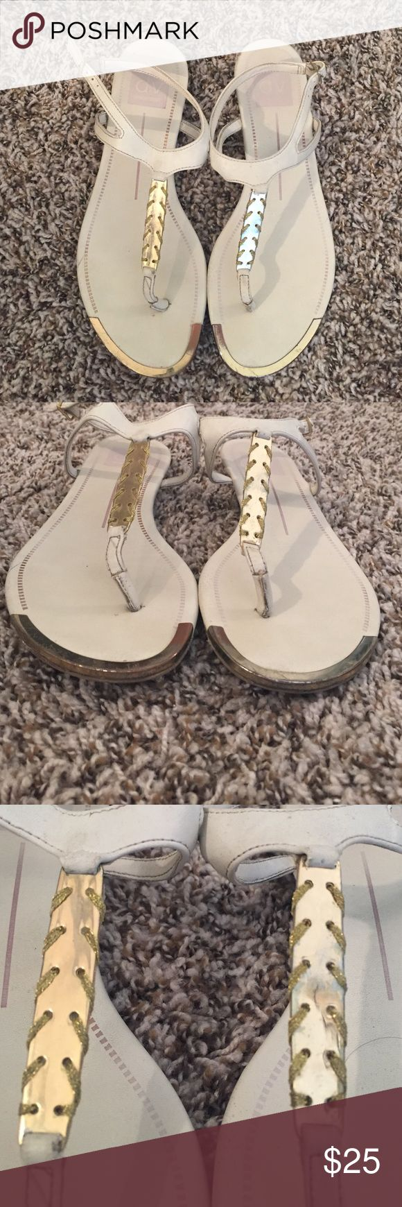 Dolce vita white and gold flat sandals Dolce vita white and gold sandals. Good condition. Dolce Vita Shoes Sandals