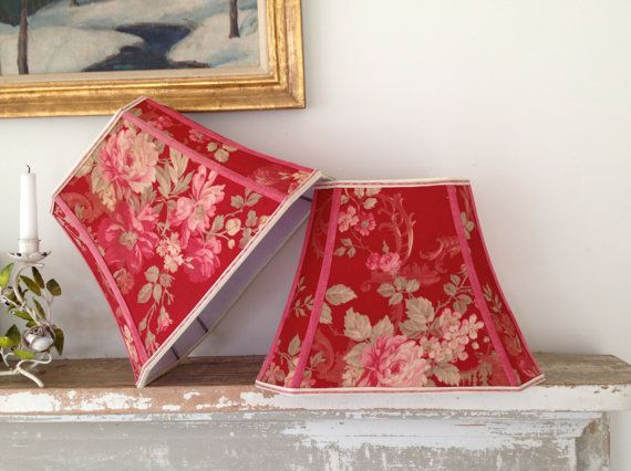 Red Lamp Shade French Lampshade Vintage Fabric Rectangle Cut Corner Bell 9x14x10 5 Table Pretty Fl One Left This Little