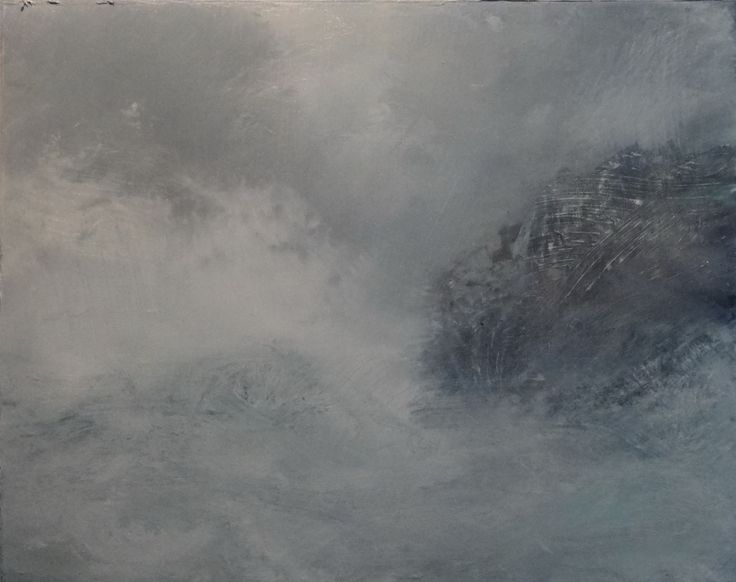 work in progress, coastal oil painting by David Ladmore  see finished paintings at www.davidladmore.com art, artist, illustration, landscape, cornwall, jurassic coast, sea cave, crystal, elemental, ocean, sea, waves, surf, storm, dark, mysterious