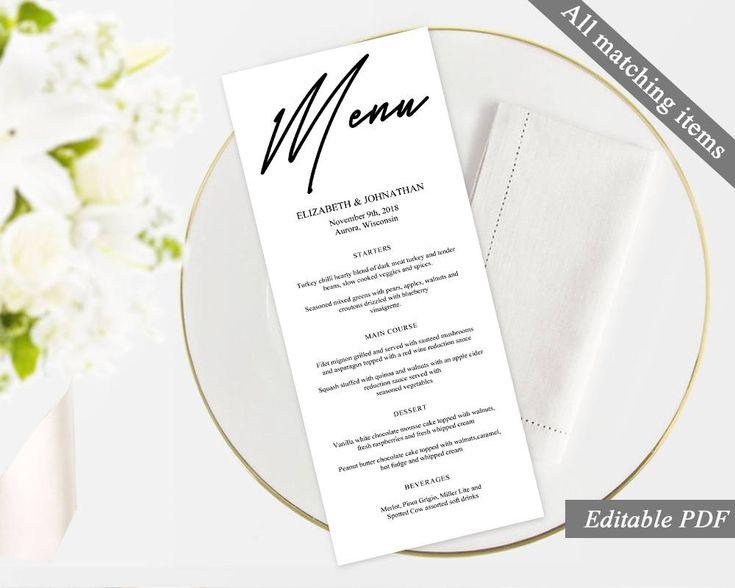 Best 25+ Wedding menu template ideas on Pinterest Free printable - cocktail menu template free download