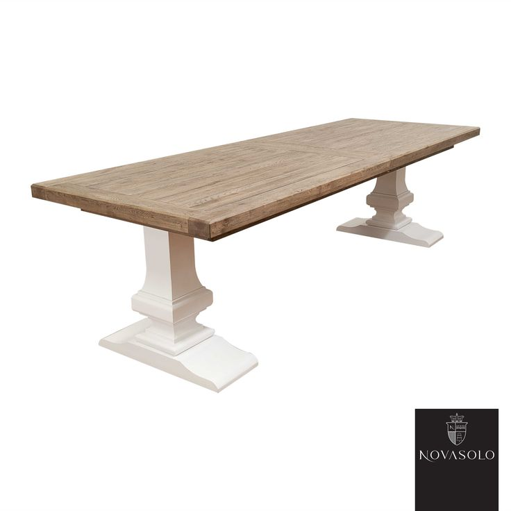 Chateau spisebord m/innleggsplate (200/260x100-lys antikk/hvit)