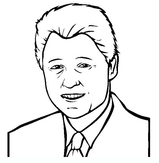 bill clinton famous people coloring pages