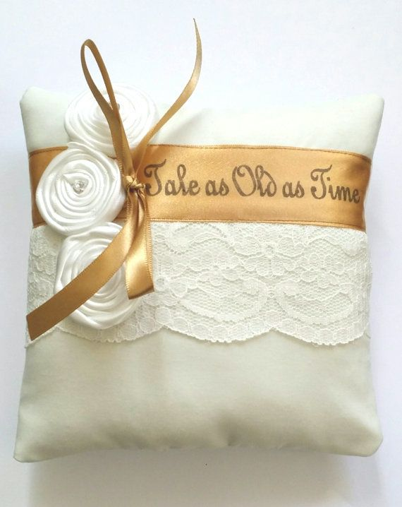 Beauty and the Beast Inspired,Tale as Old as Time Wedding Ring Pillow-(6x6 inch pillow)
