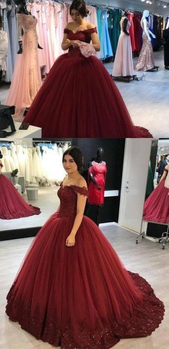 Lovely Lace Appliques Prom Gowns V-neck Off Shoulder Prom Dresses Tulle Maroon  Wedding Dress Ball Gowns by MeetBeauty f910bfd77