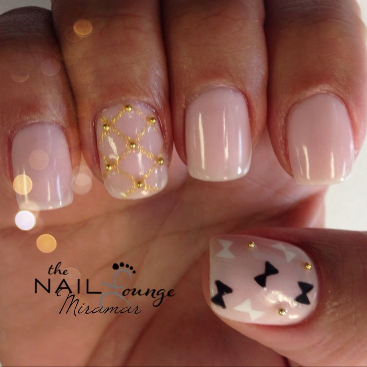 Gold bow nail art nails gold design soft pink bows view images gold studs girly bow gel nail art prinsesfo Gallery