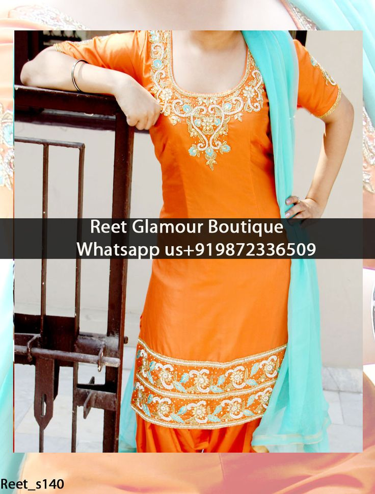 Lavish Orange Embroidered Punjabi Suit Product Code : Reet_s140 To order, call/whats app on +919872336509 We offer huge variety of Punjabi Suits, Anarkali Suits, Lehenga Choli, Bridal Suits,Sari, Gowns,etc.We Can also Design any Suit of your Own Design and any Color Combination.