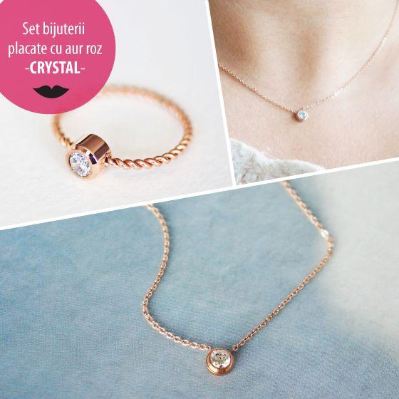 Set bijuterii placate cu aur roz - CRYSTAL - MSM-Shop