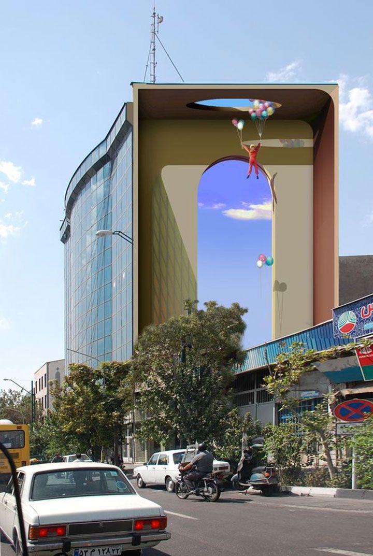 Téhéran se transforme en galerie d'art grâce à cet artiste qui recouvre les murs de ses peintures surréalistes