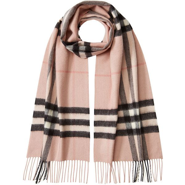 Burberry Shoes & Accessories Check Print Cashmere Scarf found on Polyvore featuring accessories, scarves, rose, plaid shawl, cashmere scarves, tartan scarves, tartan plaid scarves and burberry scarves