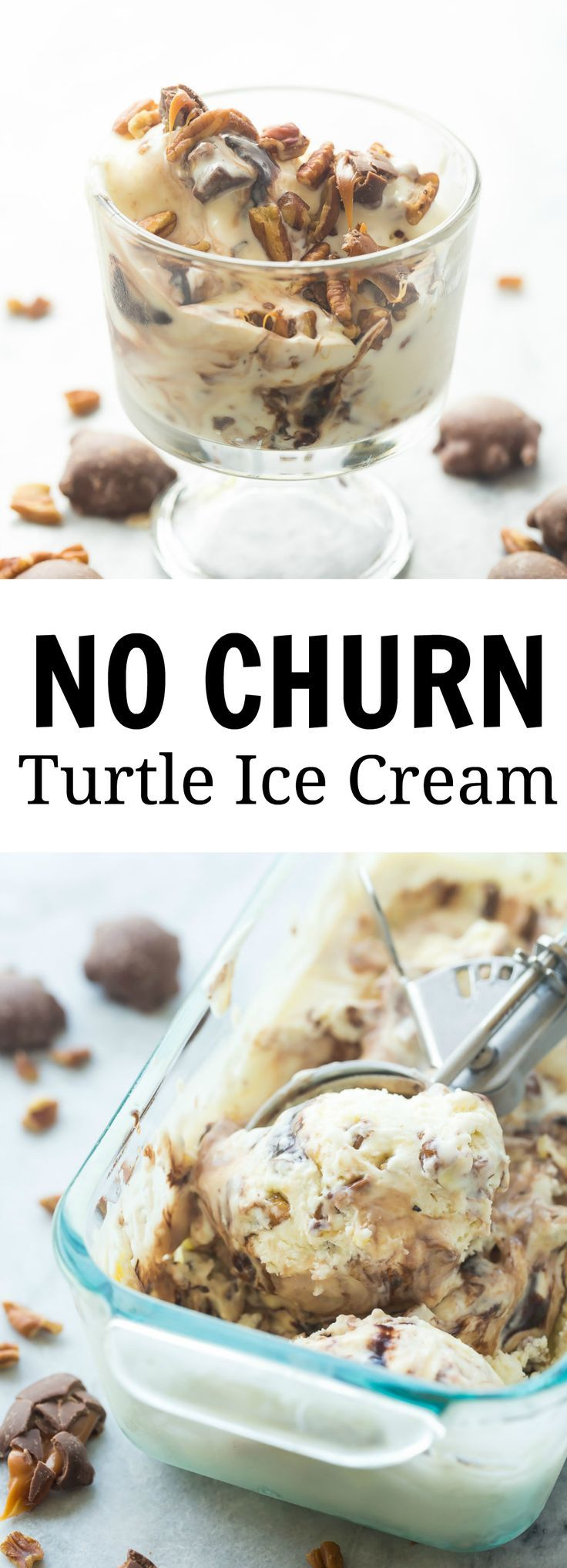 The EASIEST ice cream! No Churn Turtle Ice Cream made with chocolate sauce, caramel sauce, chopped pecans and chopped Turtles! http://www.thereciperebel.com/no-churn-turtle-ice-cream/